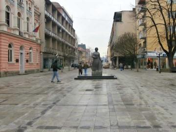 Popločavanje oko spomenika Desanki Maksimović u Valjevu